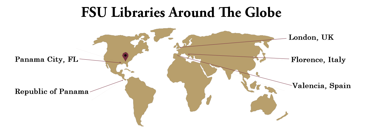 FSU Libraries across the globe are open for a total of 1,012 hours a week.