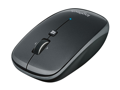 Wireless black mouse side view