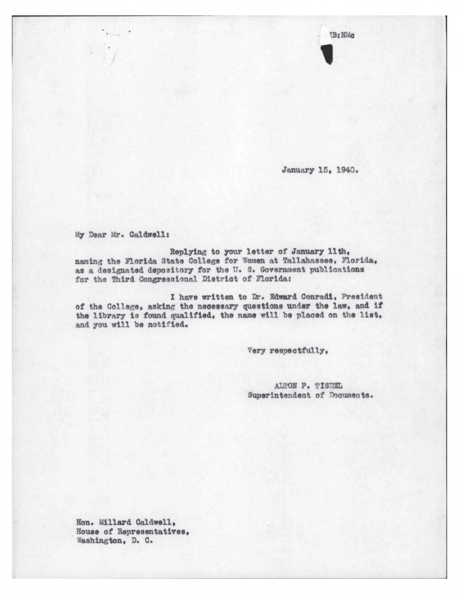 Letter from Tisdel to Caldwell Jan 15, 1940