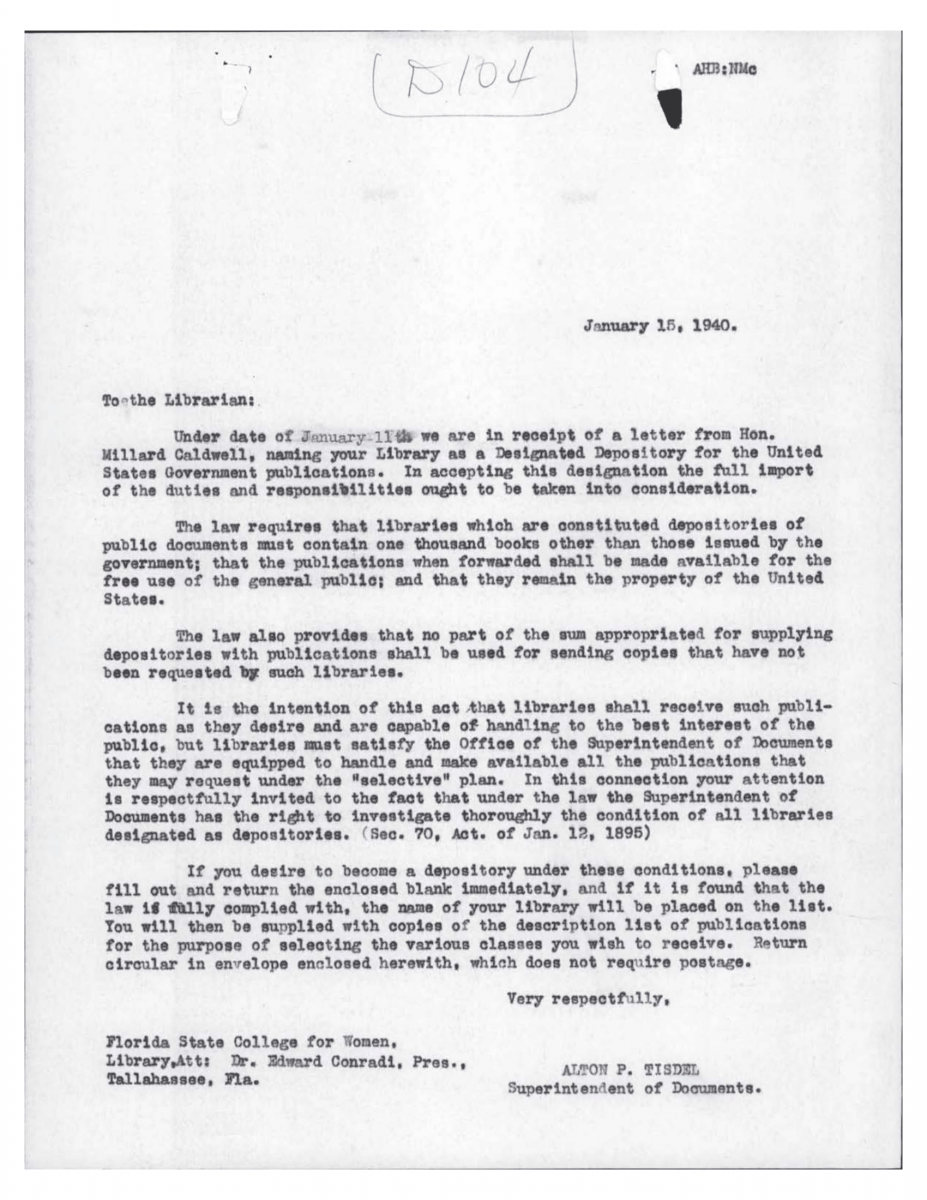 Letter from Tisdel to Librarian Jan 15, 1940