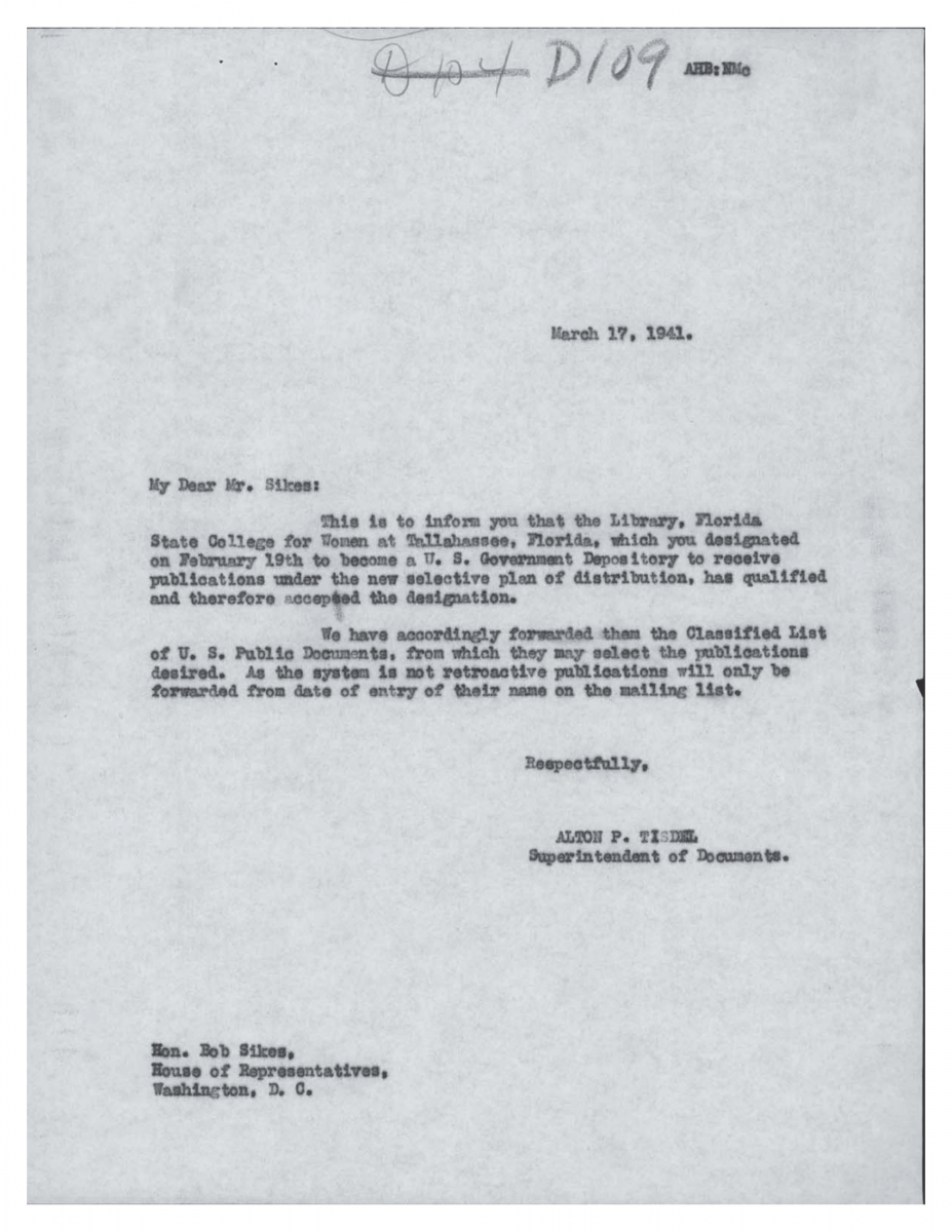 Letter from Tisdel to Sikes Mar 17, 1941