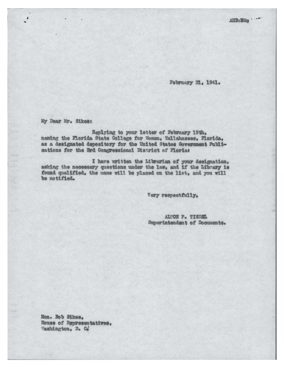 Letter from Tisdel to Librarian Feb 21, 1941