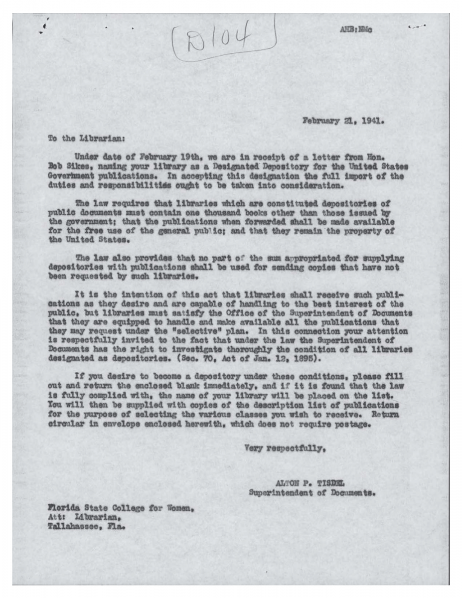 Letter from Tisdel to Sikes Feb 21, 1941