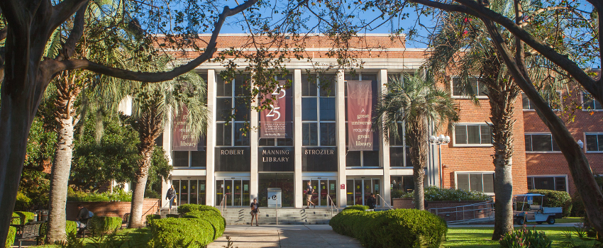 Photo of Strozier Library from the outside.